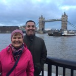 My mom and I near the London Bridge