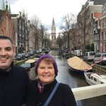 My mom and I near a famous canal