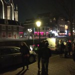 Outside the Tabernacle house of prayer, across from the oldest Church in Amsterdam and the red light district.